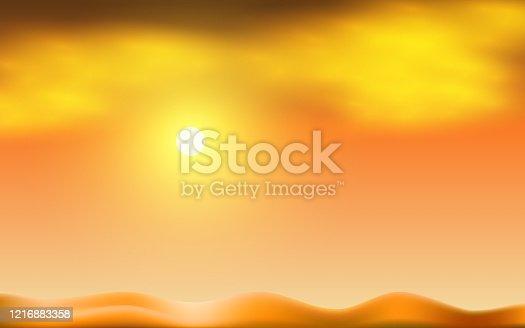 landscape of the desert in sunset
