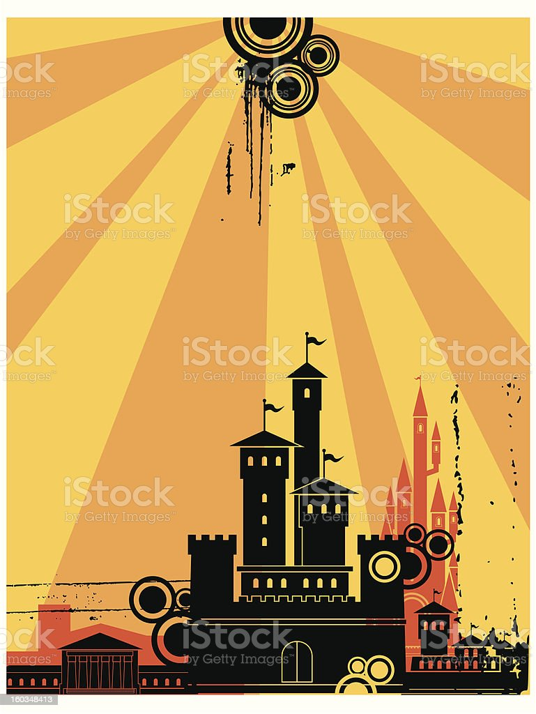 Sunshine Fortress Silhouette Background royalty-free stock vector art