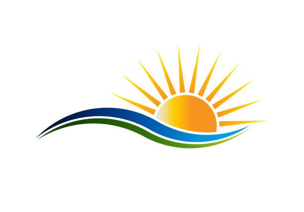 symbol słońca w waves vector illutration - horyzont stock illustrations