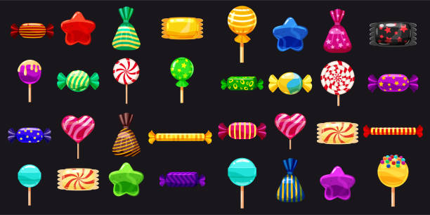 Supe set of different sweets on black background hard candies dragee jelly beans peppermint candy. Vector illustration Set of different sweets on black background hard candies dragee jelly beans peppermint candy. candy icons stock illustrations