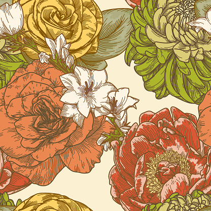 Super 1970s Retro Seamless Floral Pattern