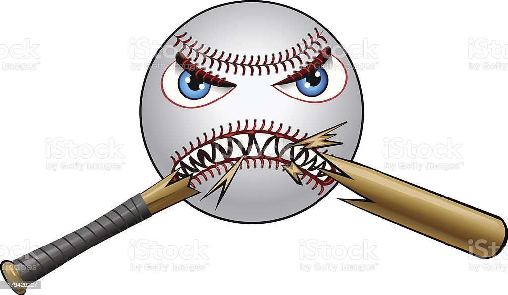 Super Angry Baseball and Bat royalty-free stock vector art