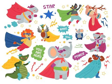 Super animals characters. Cute child heroes, superman mask on crocodile lion. Happy cartoon shark wear cape, flying hippo decent vector set