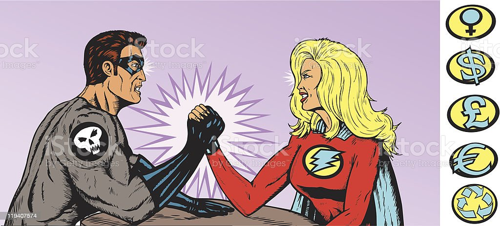 Super Arm Wrestling vector art illustration