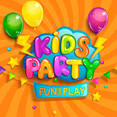 Super Banner for kids party in cartoon style with sunburst background. Place for fun and play, kids game room for birthday party. Poster for children's playroom decoration. Vector illustration.