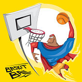 Super Basketball Player Jumping, Sports (Vector Art)