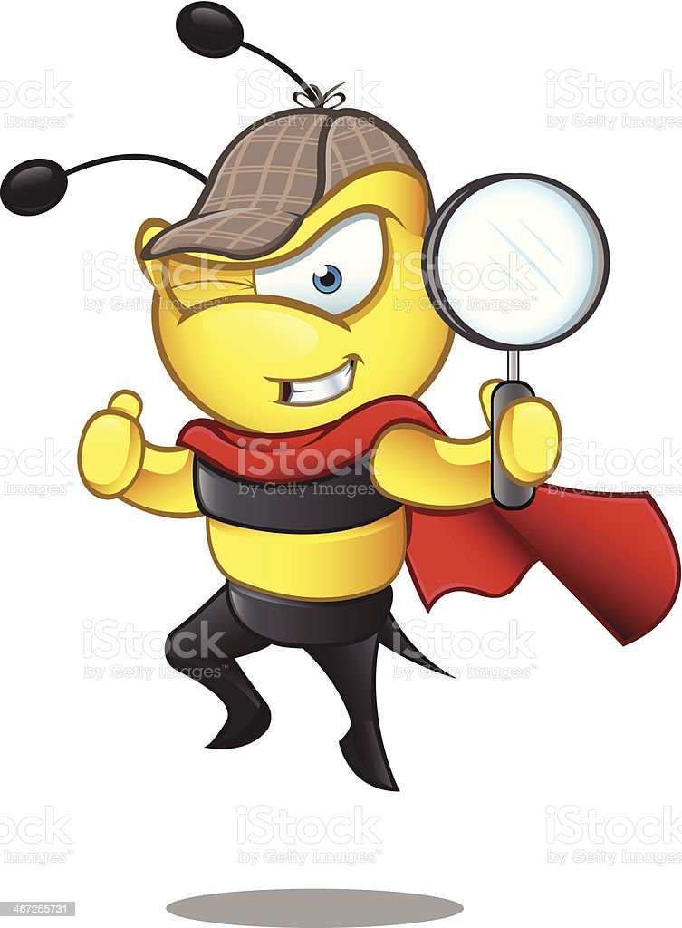 Super Bee - Detective royalty-free super bee detective stock vector art & more images of animal