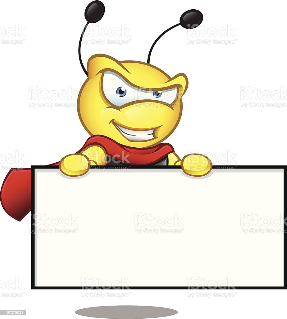 Super Bee - Holding Blank Board royalty-free stock vector art