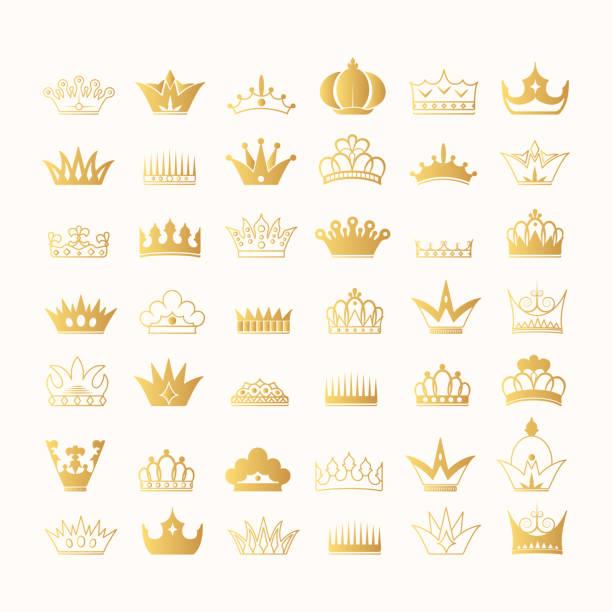 illustrations, cliparts, dessins animés et icônes de super grande collection dessiné à la main rois et reines couronne d'or contours et silhouettes. symboles héraldiques royaux d'or de cru. icônes impériales de diadème. - diademe