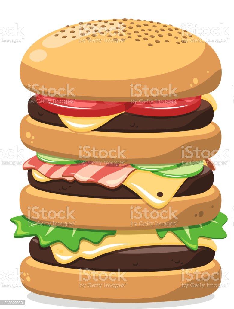 super big hamburger vector art illustration
