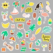 Super big set of cute summer stickers. Fruits, pineapple, cocktail, palm tree, parrot, flamingo, ice cream, cocktails. Beach party vector elements.