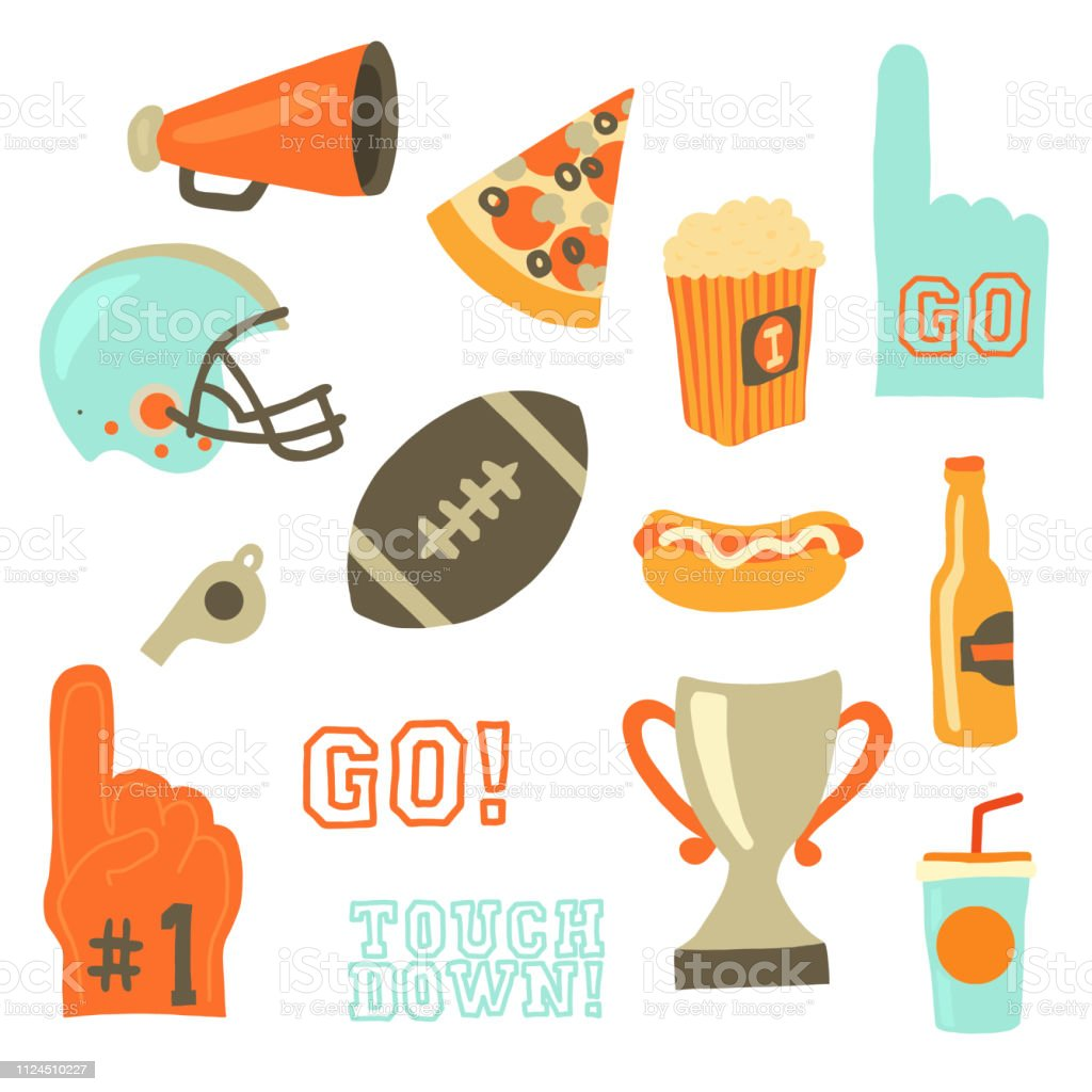 Super bowl party vector icon set. Sport games celebration icons. American football vintage retro style. Helmet, award, cup, trophy, pizza slice, football, popcorn, beer bottle, megaphone, foam hand. vector art illustration