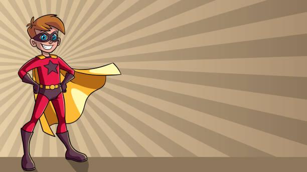スーパー少年レイ光背景 - 漫画の子供たち点のイラスト素材/クリップアート素材/マンガ素材/アイコン素材