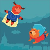 vector illustration of super bull meeting super bear in the sky…  [url=http://www.istockphoto.com/my_lightbox_contents.php?lightboxID=6581768] [img]http://work.idgraphic.net/styleanimals_lbox.jpg[/img][/url]