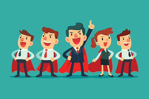 super-business-team in Rot capes – Vektorgrafik