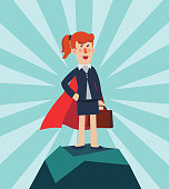 Super Business woman. Cartoon superhero standing with cape waving in the wind. Successful hero businesswoman. Success, leadership and victory in business vector concept
