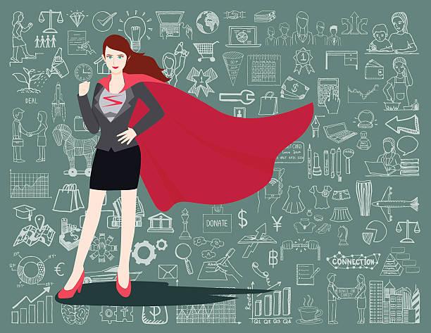 super-business woman - superwoman stock-grafiken, -clipart, -cartoons und -symbole