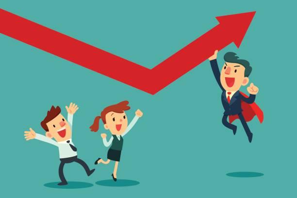 Super Unternehmer helfen, sein Team Graph hochdrücken – Vektorgrafik
