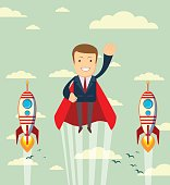 Super businessman in red capes flying upwards to his success.