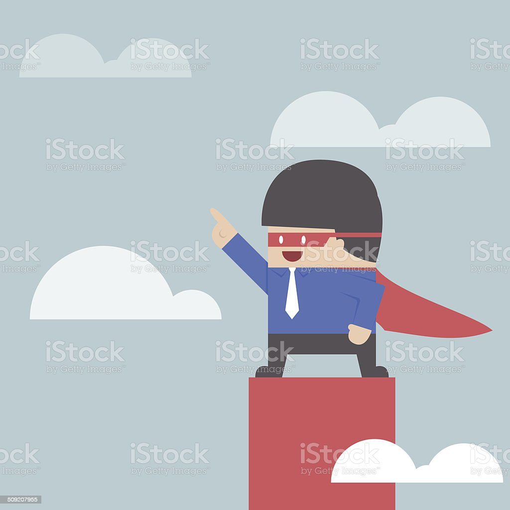 Super businessman standing on the top of the graph vector art illustration