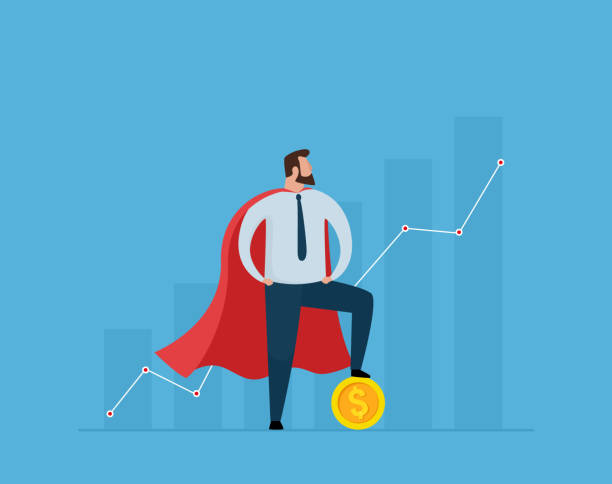 Super Businessman standing with a gold coin on growth graph. vector art illustration