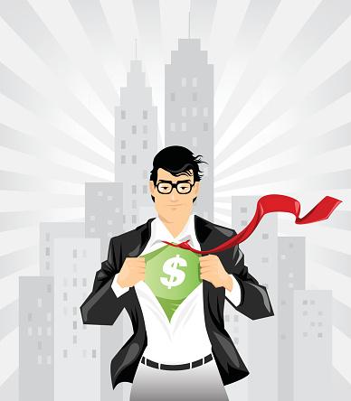 Super businessman with dollar sign undershirt