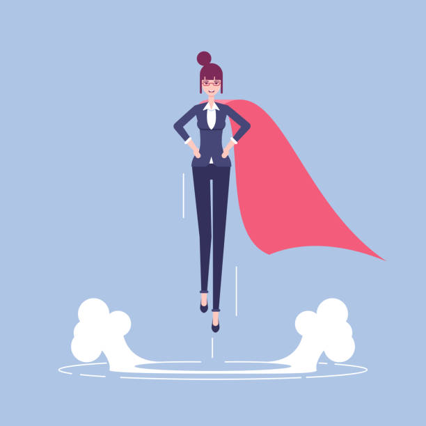 super geschäftsfrau abbildung - superwoman stock-grafiken, -clipart, -cartoons und -symbole