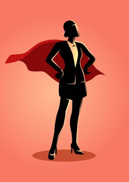 ilustrações de stock, clip art, desenhos animados e ícones de super businesswoman - portrait of confident business