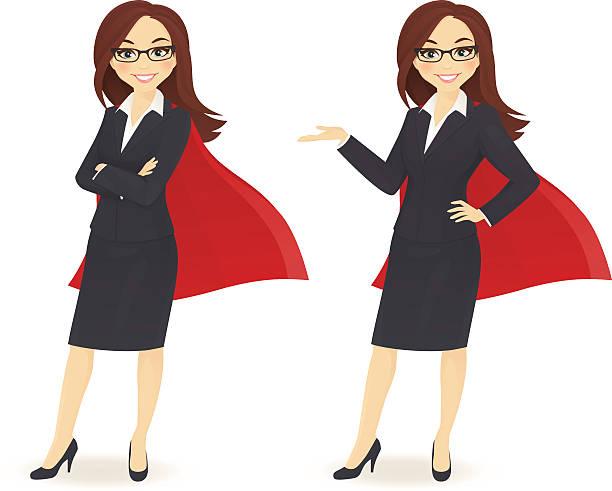 ilustraciones, imágenes clip art, dibujos animados e iconos de stock de super empresaria - ejecutiva