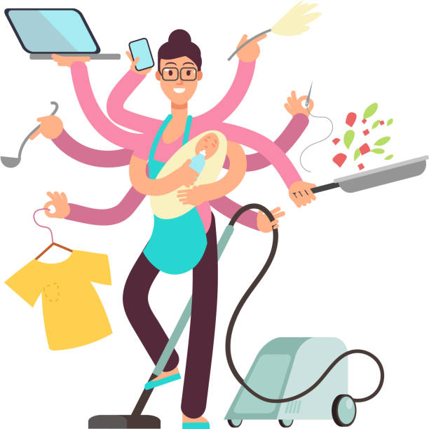 Super busy mother working and cooking simultaneously vector concept Super busy mother working and cooking simultaneously vector concept. Busy and cooking, mother with baby and work illustration cooking clipart stock illustrations
