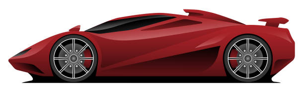 Super Car Vector Illustration Hot aerodynamic super car vector illustration, clean lines, low profile, deep red shiny paint, custom spoke wheels, mid engine with air intake and rear spoiler sports car stock illustrations