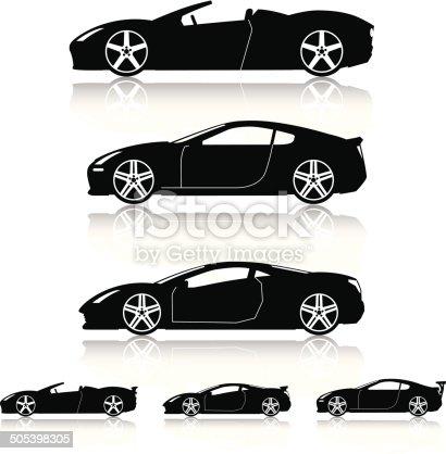 Generic modern super car silhouettes.