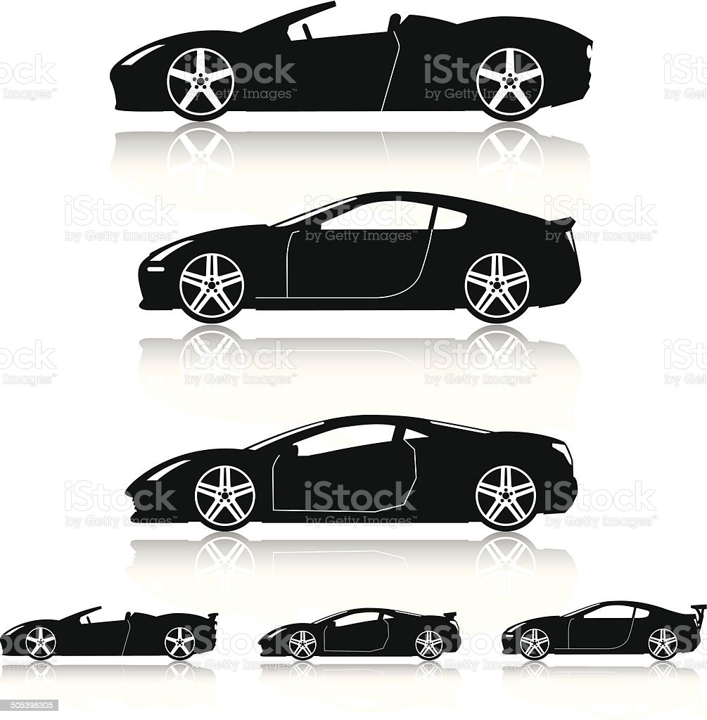 Super Cars Silhouettes vector art illustration