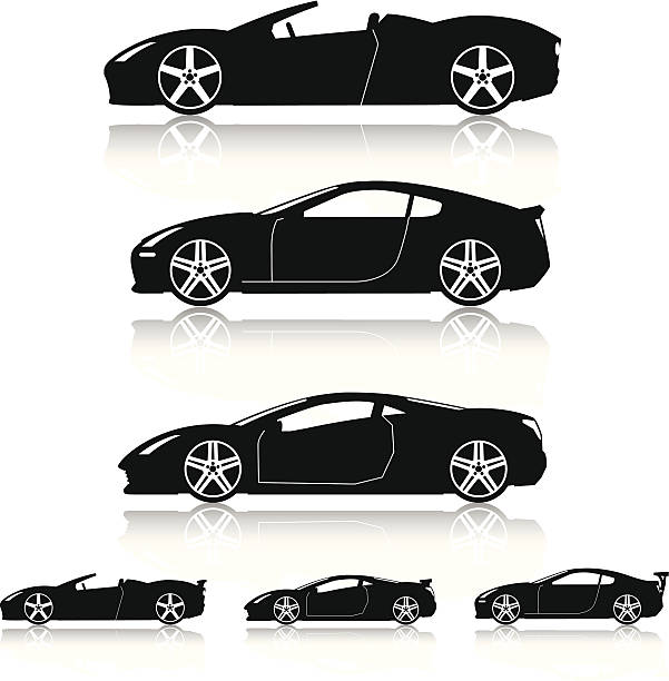 Super Cars Silhouettes Generic modern super car silhouettes. convertible stock illustrations