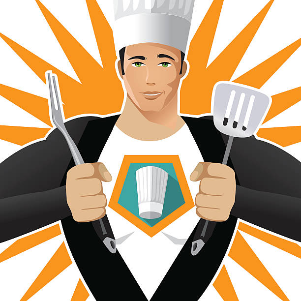 Super Chef with fork and spatula vector art illustration