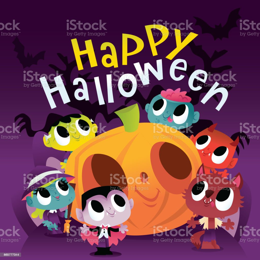 super cute halloween monsters and ghouls scene royalty free super cute halloween monsters and ghouls