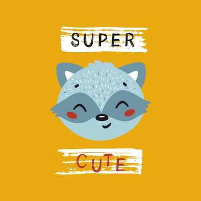 Super Cute Raccoon Face. Funny Raccoon Head for Tee Print Design for Kids. Vector Cartoon Little Baby Animal. Scandinavian Card, Print or Poster Design