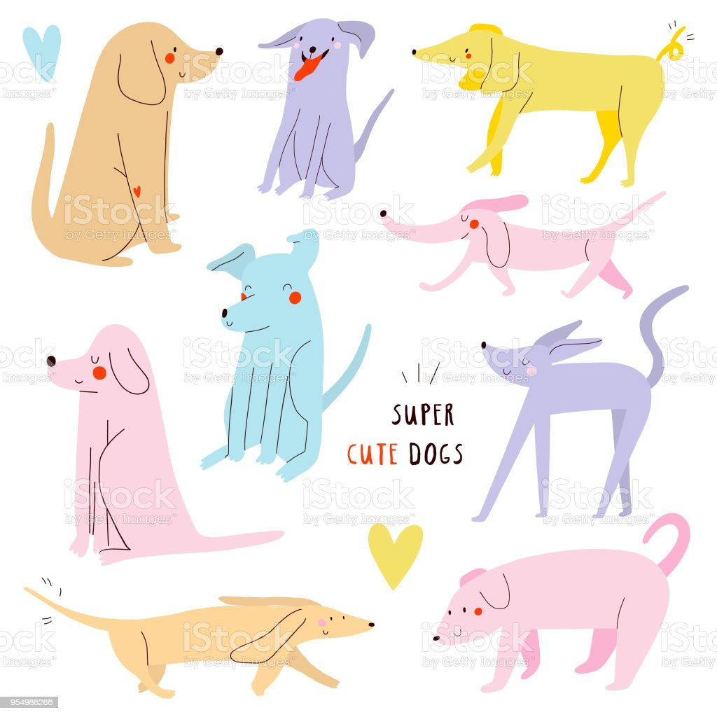 Cartoon Illustration with different Dogs. Whimsical dogs collection.