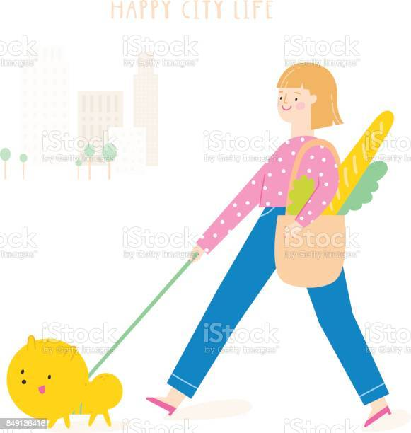 Super cute vector illustration with girl walking dog in a city vector id849136416?b=1&k=6&m=849136416&s=612x612&h=larxmjmfadptwpescngi2o76w gyah5tbh6uhahis40=