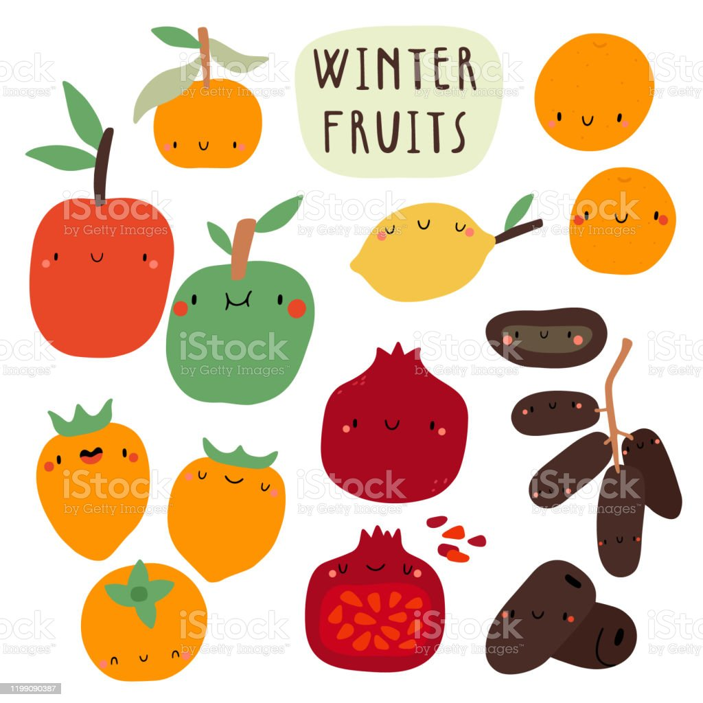 Super Cute Vector Seasonal Fruits Collection Stock Illustration Download Image Now Istock
