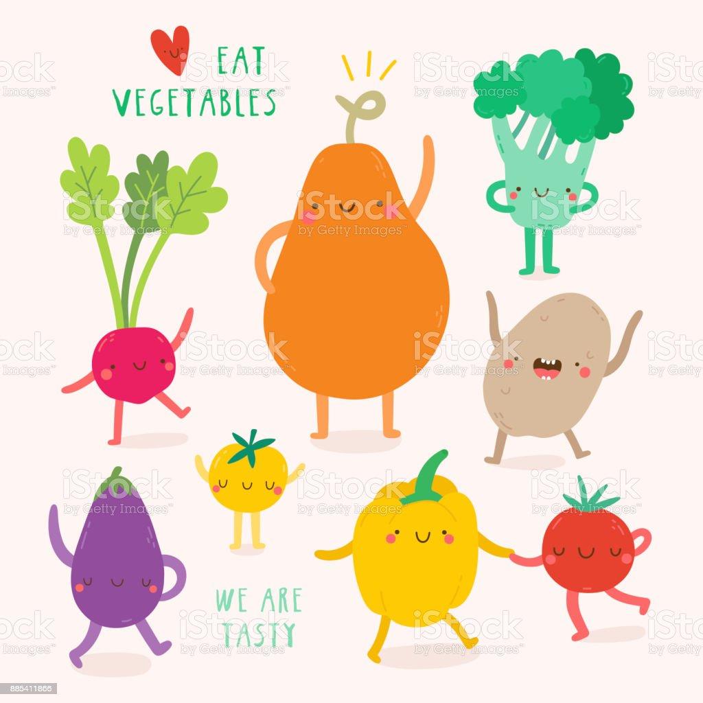 Super cute Vegetables characters. vector art illustration