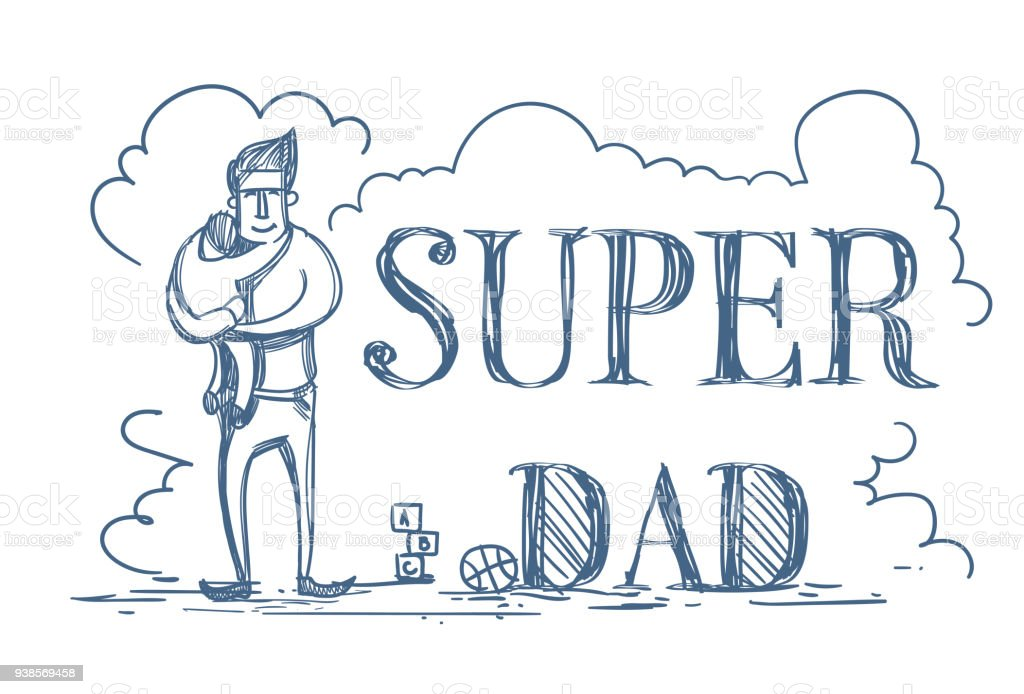 Super Dad Doodle Poster With Man Embracing Kid On White Background Happy Father Day Concept vector art illustration
