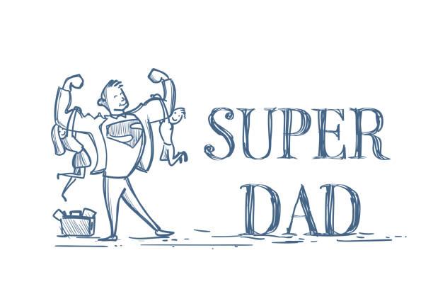 ilustrações de stock, clip art, desenhos animados e ícones de super dad holding kids son and daughter doodle on white background happy father day concept - super baby