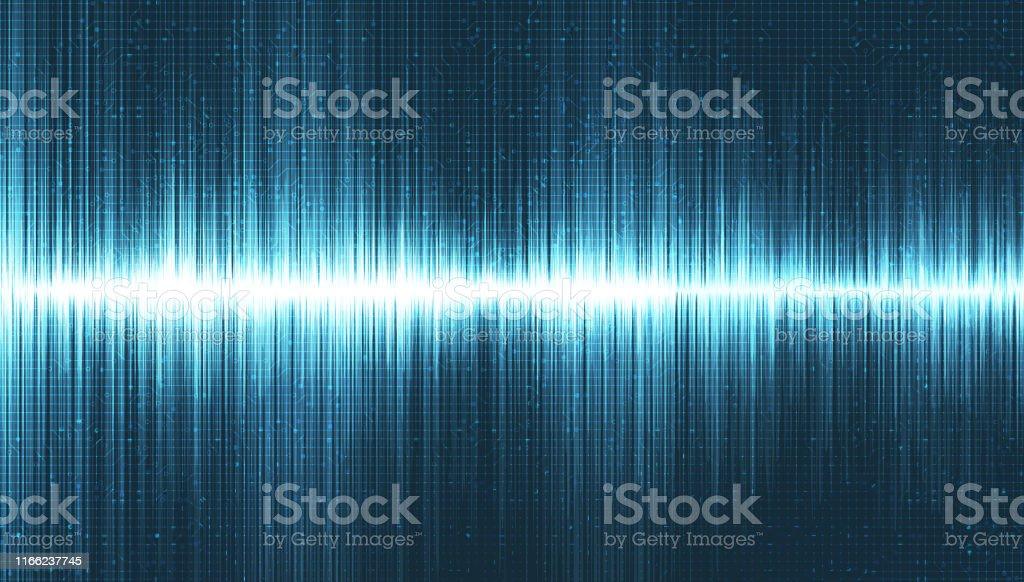 Super Digital Sound Wave Low and Hight richter scale on Light Blue...