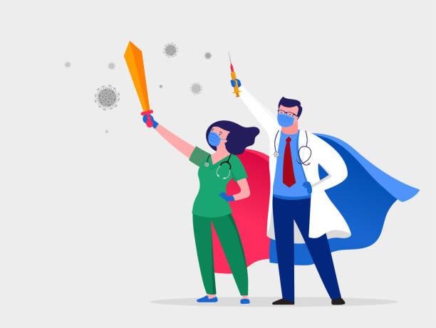 Super doctor and nurse wearing medical masks and capes, superhero couple, vector cartoon illustration vector art illustration