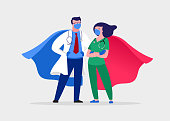 istock Super doctor and nurse wearing medical masks and capes, superhero couple, vector cartoon illustration 1216057013
