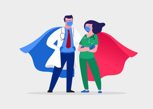 의료 마스크와 망토를 입고 슈퍼 의사와 간호사, 슈퍼 히어로 커플, 벡터 만화 일러스트 - doctor stock illustrations