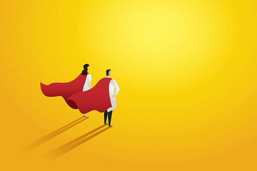 Super doctor two people professional red superhero cloak. Character set. Vector illustration