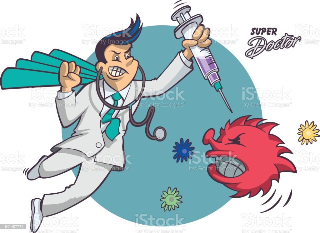 Super Doctor vector art illustration