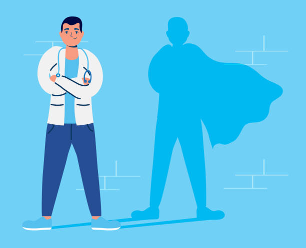 super doctor with hero shadow vs covid19 vector art illustration